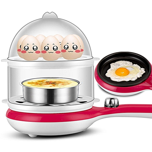 Electric Double Layer 14 Eggs Cooker Boiler Food Steamer Machine With Frying Pan