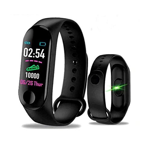 M3 Smart Watch Blood Pressure Heart Rate Monitor - Black