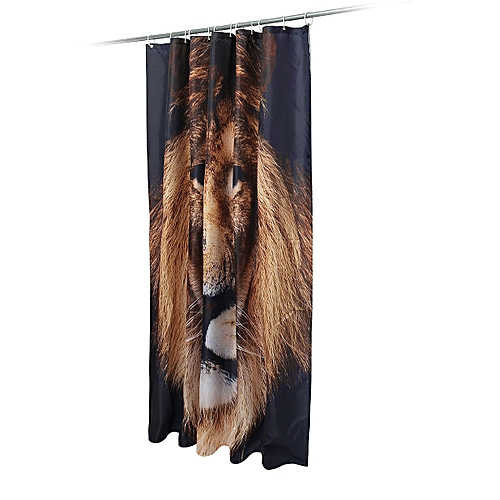 4Pcs Lion Non-Slip Bathroom Rug Toilet Seat Cover Bath Mat Shower Curtain Animal