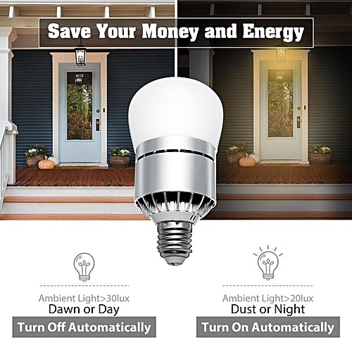 E27 12W Dusk To Dawn LED Lamp Bulb Auto Light Sensor Energy Saver AC 85-265V Cool White