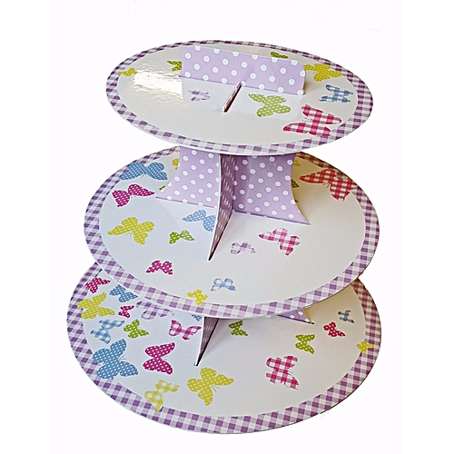 3 Tier Cupcake Stand Butterfly Design Round Display Tower