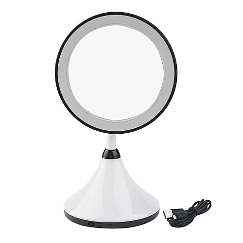 2-in-1 LED Makeup Mirror With Table Lamp For Bedroom Table Cosmetic Mirror Black