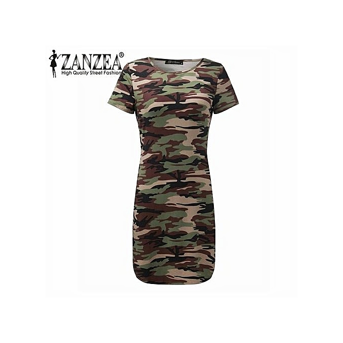 ea043ca0ee298 ... ZANZEA Women Camouflage Printed Bodycon Dress Short Sleeve Long Tops  Ladies Mini Dresses Vestidos ...