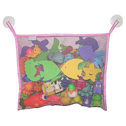 Bath Toy Organizer Mesh Storage Hanging Bag + 2 Bonus Strong Hooked Suction Cups Pink
