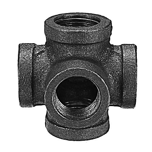 Black Malleable Iron 6 Way Pipe Connector Iron Pipe Fitting 1/2Inch