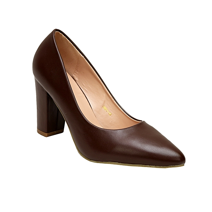 388bec21e095 Vivienne Co Pointed Lady Block Heel Covered Shoe - Coffee