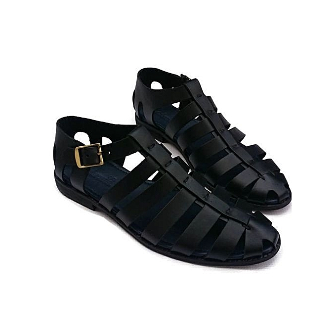 ff7820a8322 New Styles Men Multi Stripe Leather Sandal- Black