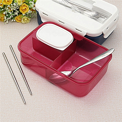 Portable 1000ml Modern Ecofriendly Outdoor Office Microwave Lunch Box With Soup Bowl Chopsticks Spoon Food Containers