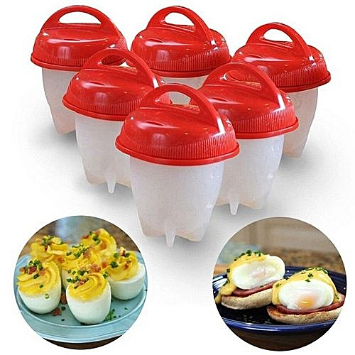 6Pcs Non-Stick Silicone Egg Cup Cooking Cooker - Transparent