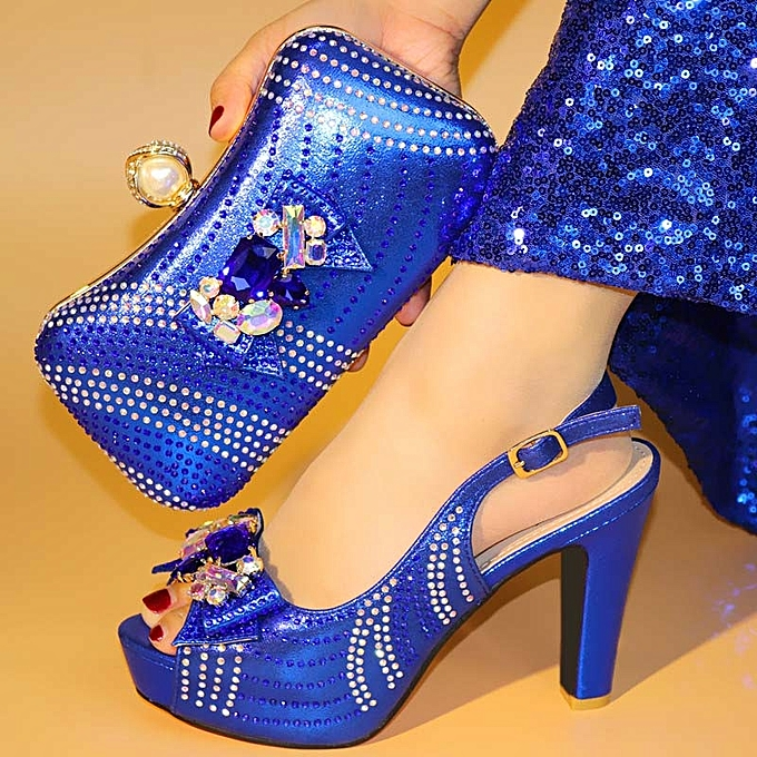 a7a4e3a0b27d Fashion 2018 New Blue With Shining Rhinestones African Women Shoes And Bag  Set Pumps Italian Shoes With Matching Bag For Wedding Party