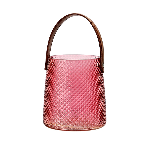 QUKAU Simple Jacquard Vase Leather Glass Receptacle Jar Glass Vase Creative Home Decoration Vase