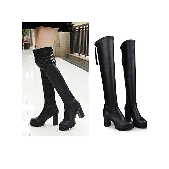 07fcb2315e9f Fashion Leather Over Knee Boots Women Toe Elastic Stretch Thick Heel Boots  BK 35-