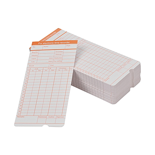 DOYO Time Card 2-Sided Monthly Format Size 7.4 * 3.3 Inch For Employee Attendance Various Time Clock Recorder Machine, 100pcs/ Pack
