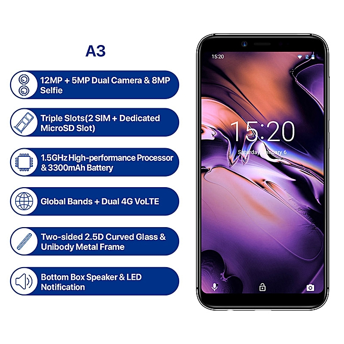 A3 5 5-Inch HD+ (2GB, 16GB ROM) Android 8 1 Oreo, 12MP+ 5MP Dual SIM 4G  Smartphone (Global Band)