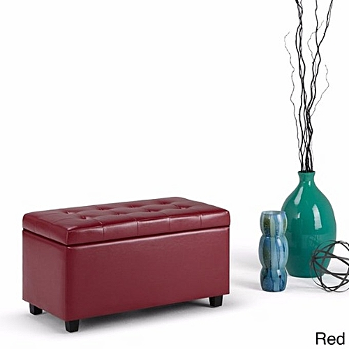 Handys - Essex Faux Leather Storage Ottoman Bench - Red (Delivery Within Lagos Only)