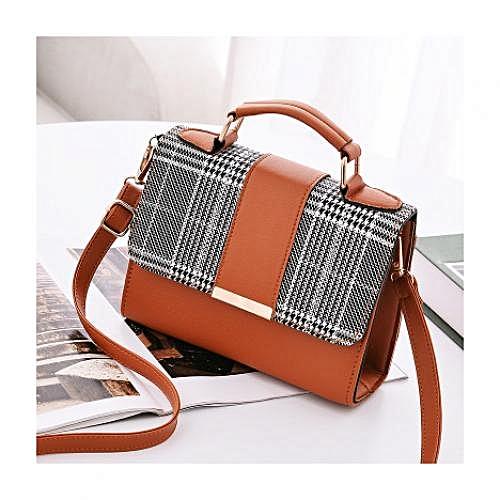 Portable Plaid Leather Handbag - Brown