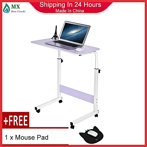 [free Gift] Height Adjustable Laptop Table Computer Desk Stand Bed With Wheels 60*40CM