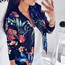 f544ee1f2f Spring Autumn Women Long Sleeve Printed Flowers Baseball Uniform Jacket Coat  Black Sports Outdoors Zipper Tops