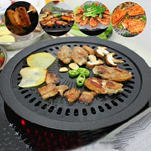 Round Iron Korean BBQ Grill Plate Barbecue Non-stick Pan Set With Holder Set For Home