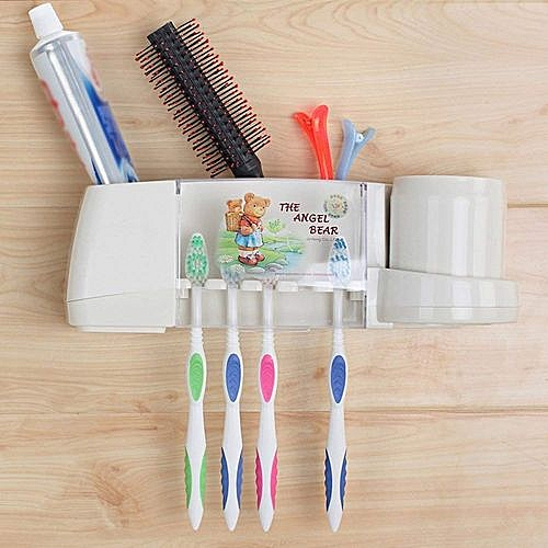 Multi Toothbrush Toothpaste Holder With Transparent Lid