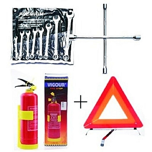 Fire Extinguisher + Wheel Spanner + 8 Pcs Flat & Ring Spanner + C-Caution Sign