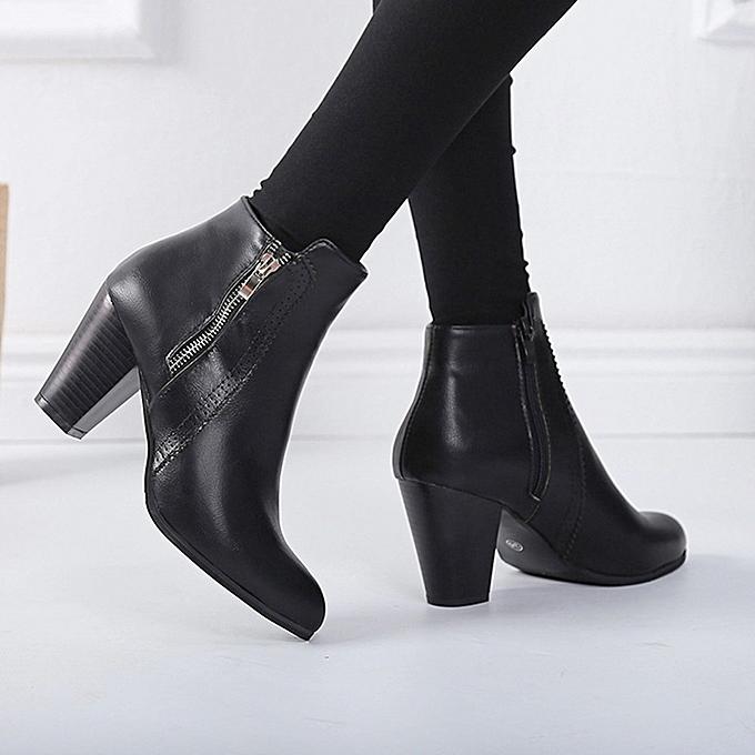 357e29e0905 ... Jiahsyc Store Women Vintage Chunky High Heels Thick Heel Short Boot  Ankle Booties Zipper Shoes- ...