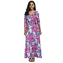 a74c3a74080 Women  039 s Maxi Floral Dress Belted Beach Dress V-Neck Multicoloured Floor