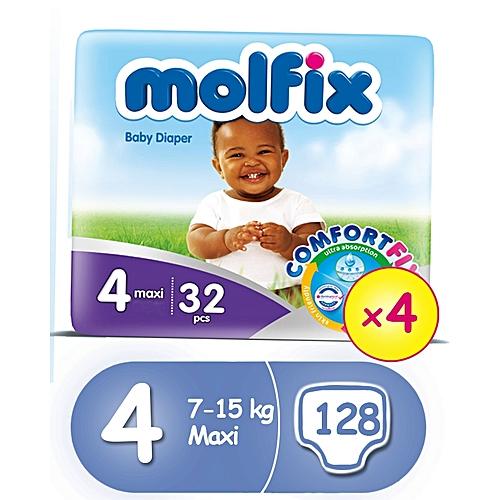 ComfortFix Diapers, Size 4 (x 4) (Total 128 Count)