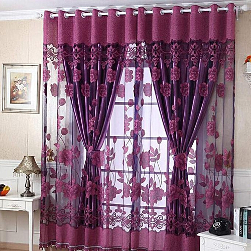 Luxury With Hole Dangle Beads Floral Curtain Window Room Curtain Scarf