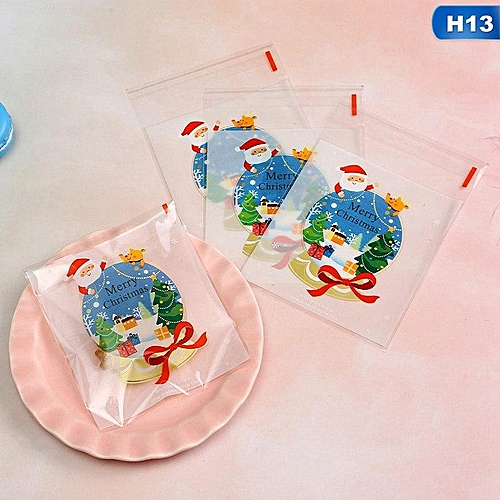 Benhongszy 100PCS Bakery Package Christmas Style Self-sealed Biscuit Cookie Candy Bag 10 * 10 Christmas Candy Supplies Gift Present Bags