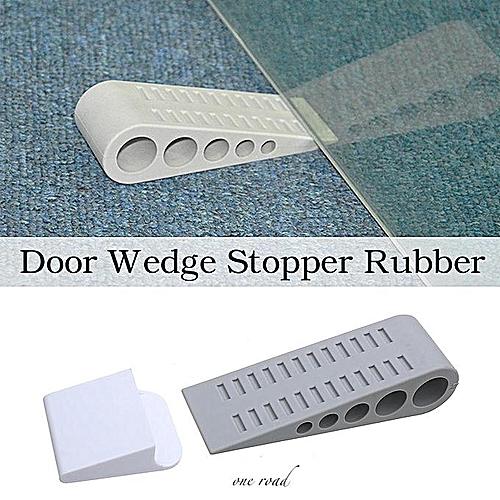 1Pcs Door Wedge Stopper Rubber Grey Anti-slip Doorstop Wall Mount Holder Tool