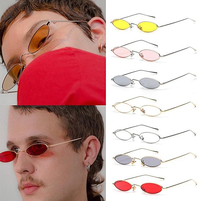 145fae8b6f ... Women Men Small Oval Sunglasses Fashionable Unisex Metal Frame UV  Glasses