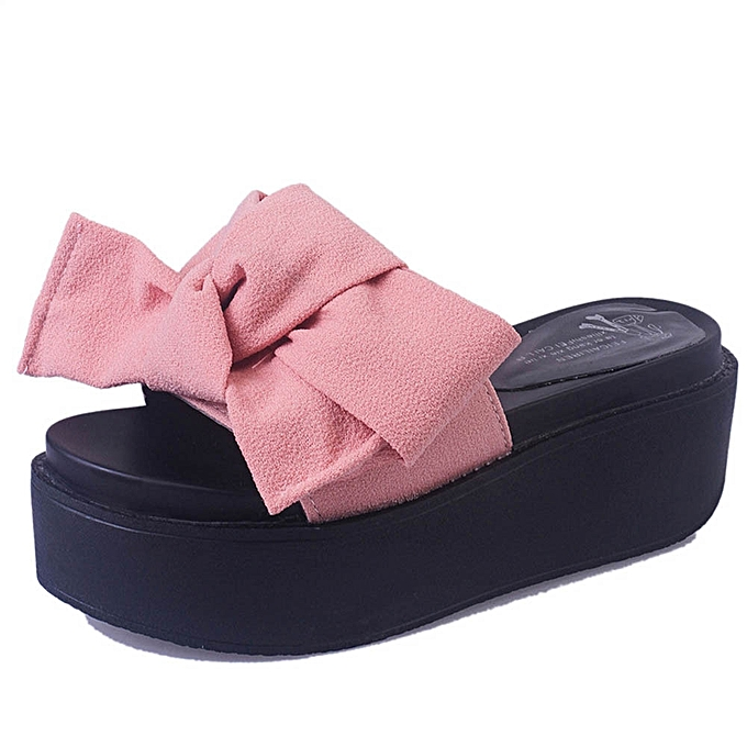 403dc85aa1f ... Jiahsyc Store Women Comfy Plain Rubber Slippers Flip Flop Bow Sliders  High Heel Sandals PK  ...