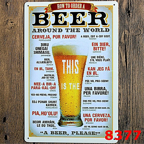 22 Style Retro Beer Iron Printed Painting Wall Art Display Bar Decor Sign 12X8inch