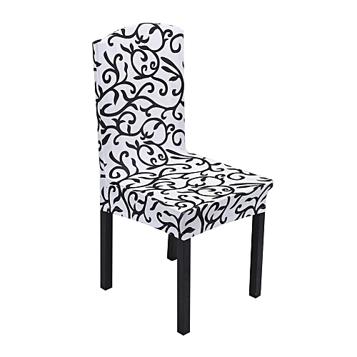 1pcs Removable Stretch Soft Chair Covers Colorful Floral Printing Home Decoration- White / Black