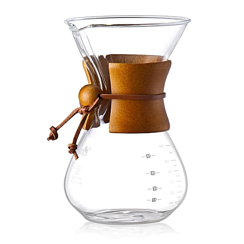 Diguo Glass Coffee Maker Pour Over Coffeemaker Chemex Style 600ml/20oz/4 Cups