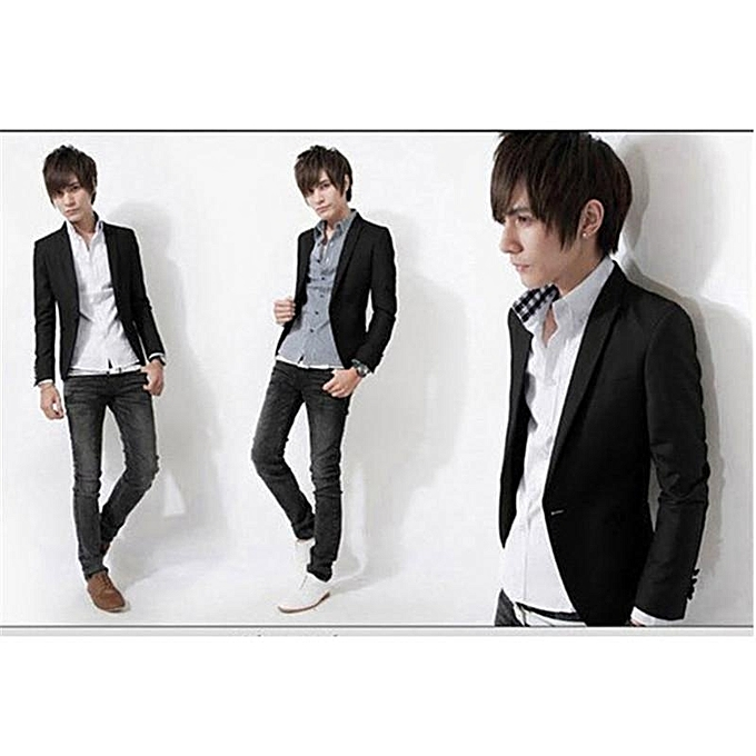 6ffde65488 Black Men Blazer New Arrival Single Button Trendy Mens Blazers Slim Fit  Linen Suits Korean Fashion