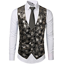 4fe9a0b578d8a Fashion Nightclub Style Leisure Vest Velvet Hot Stamping Vest Bronzing  Large Flower Single-breasted Vest