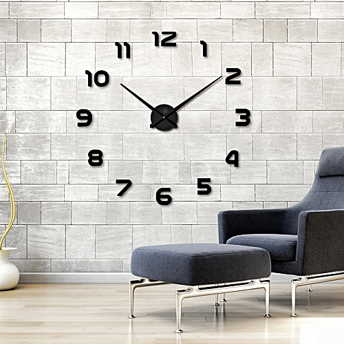 Fashion DIY Large 3D Number Mirror Wall Sticker Big Watch Home Decor Art Clock