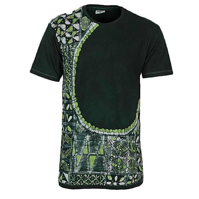 Häufig Fashion Unisex Casual Adire Batik Round Neck T-Shirt - Green UJ48
