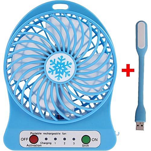 Portable Rechargeable Fan Blue + LED Light