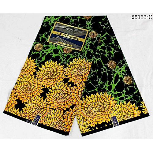 Ankara - Black Background With Touch Of Green And Yellow - 6yards