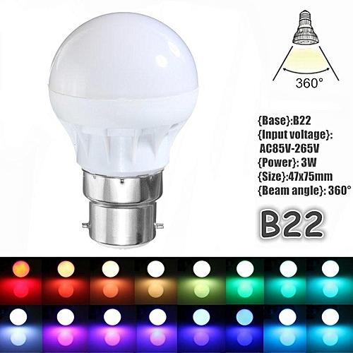 3W 16 Colors Changing RGB LED Light B22 Bulb Lamp IR Remote Control 85-265V