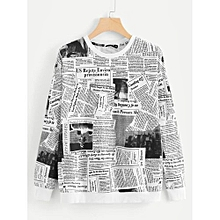 40d7b37a65 Newspaper Print Sweatshirt - Black And White