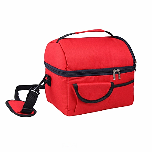 Insulated Portable Tote Work Picnic Travel Lunch Ice Bag Double Layer Red