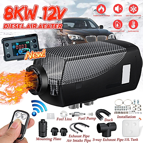8KW 12V Diesel Air Heater LCD Thermostat 15L Tank 3-Outlet Kit Fr Car Truck Boat