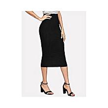 7df576a07 Dazen Collections Black Midi Bodycon Pencil Skirt