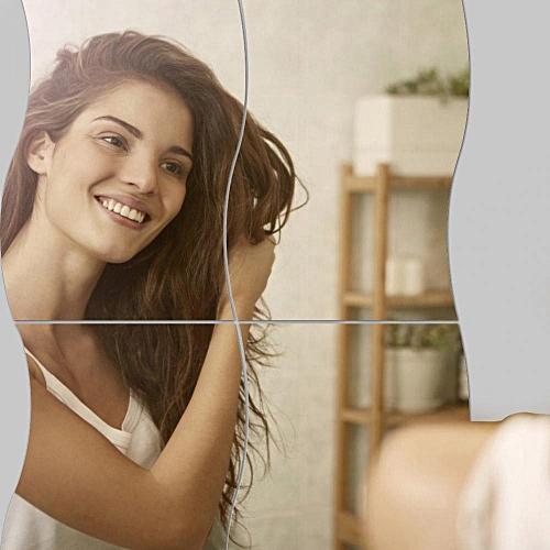 6Pcs/Set Waves Shape Wall Mirror Sticker Free Combination Home Bathroom Decor