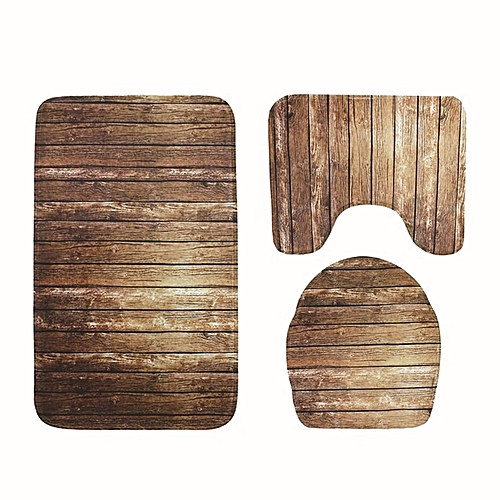 3Pcs Bathroom Carpet Non-slip Mat Lid Toilet Cover Bath Set Wood Color