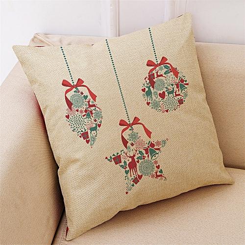 Hiamok_Dtrestocy New Christmas Cotton Linen Pillow Case Sofa Cushion Cover Home Decor